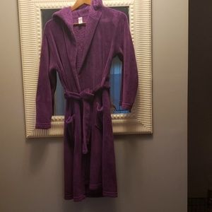 Purple plush hooded robe